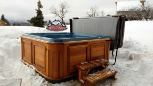 Bothe's new Hot tub Cub in Tahoe Blue Granite with Red Cedar Cabinet