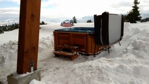 Bothe's new Arctic Spas Cub in Tahoe Blue Granite with Red Cedar Cabinet