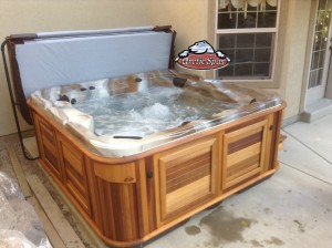 Boyack's new Arctic Spa Norwegian in Mediterranean Sunset with a Red Cedar Cabinet