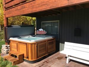 Christine's new Arctic Spa Yukon in Kalahari with a Cedar Cabinet