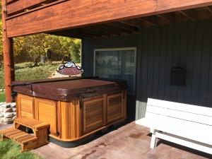 Christine's new Arctic Spa Yukon in Kalahari with Cedar Cabinet