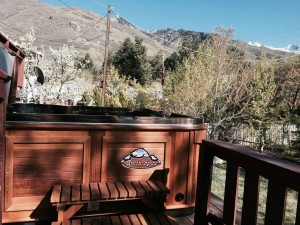 Coffman's new Arctic Spas Tundra in Mayan Copper with a Cedar Cabinet
