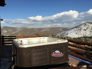 Geige's new Arctic Spas Cub with a Composite Cabinet in Sable