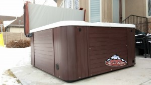 Koch's new Arctic Spas hot tub Coyote Tempe in Silver with a Purple Rain Cabinet