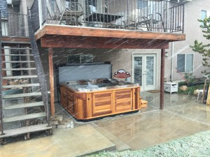 LeBaron's new Arctic Spas Summit in Mediterranean Sunset and Red Cedar Cabinet