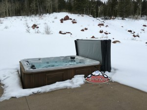 Mader's new Arctic Spa Summit XL in Platinum with Custom Stained Cedar Cabinet