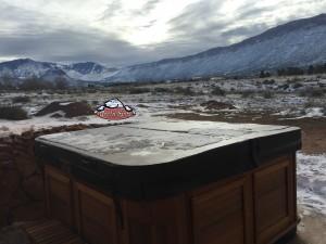 Marquardt's new Arctic Spas Cub in Kalahari Granite with a Red Cedar Cabinet