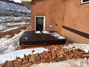 Marquardt's Arctic Spas Cub in Kalahari Granite with a Red Cedar Cabinet