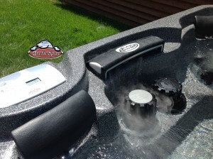 Vawdrey new hot tub Cub in Dakota Granite with a Charcoal Composite Cabinet